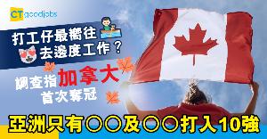 【職場文化】打工仔最嚮往去邊個國家工作?加拿大首次奪冠 僅2個亞洲國家打入10強